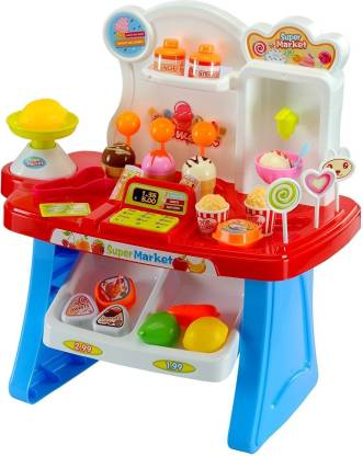 jk int 34 Pcs Kids Mini Market Supermarket Play Set Multi Color