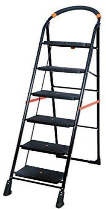 PARASNATH BLack Heavy Folding Ladder with Wide Steps Milano 6 Steps 6.2 Ft Steel Ladder