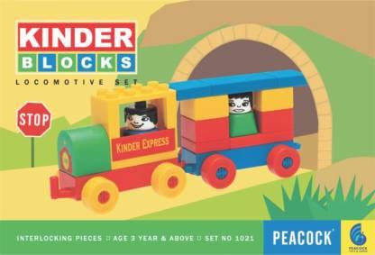 Peacock Kinder Blocks Locomotive -(Train Blocks) by Party Shopping