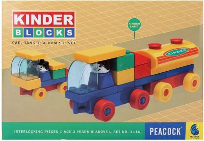 Peacock Kinder Blocks Car,Tanker & Dumper (3 in 1) by Party Shopping