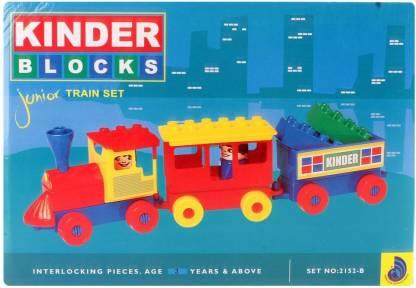 Peacock Kinder Blocks Junior Train Set-(Train Blocks) by Party Shopping
