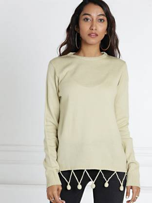 All About You Solid Round Neck Casual Women Beige Sweater