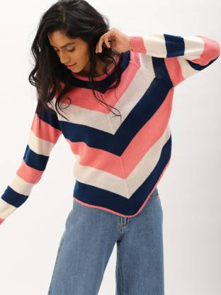 Dressberry Striped Round Neck Casual Women Multicolor Sweater
