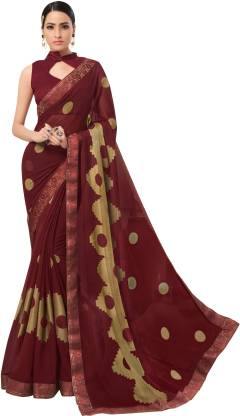 Printed Fashion Chiffon Saree  (Maroon)
