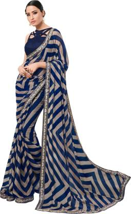 Printed Fashion Chiffon Saree  (Dark Blue)