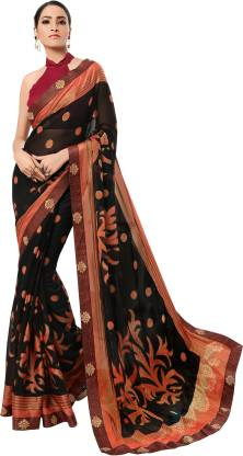 Printed Fashion Chiffon Saree  (Black)