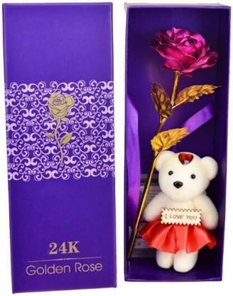 JS 24K Red Golden Rose and Gift Box Pink Rose Artificial Flower
