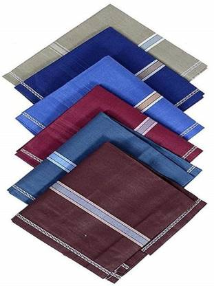 """Slim Shine Color Accent Men's Handkercheifs. Size- 18x18 (Pack of-6) [""""Multicolor""""] Handkerchief"""