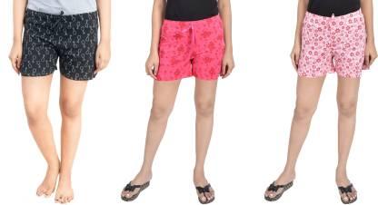 A9 Printed Women Red, Black, Pink Basic Shorts
