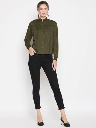 Purys Women Solid Casual Green Shirt
