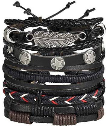 Shining Diva Alloy, Leather Bracelet Set