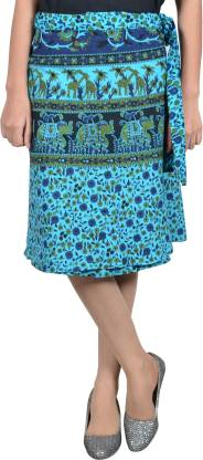 Women Printed Wrap Around Blue Skirt