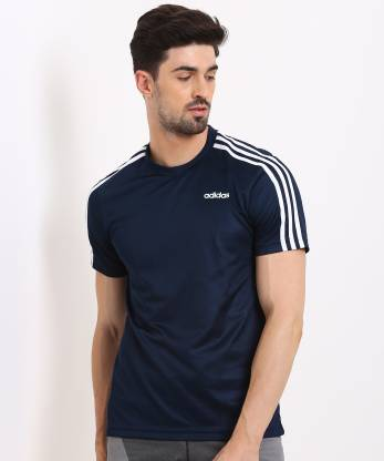 ADIDAS Sporty Men Round Neck Blue T-Shirt