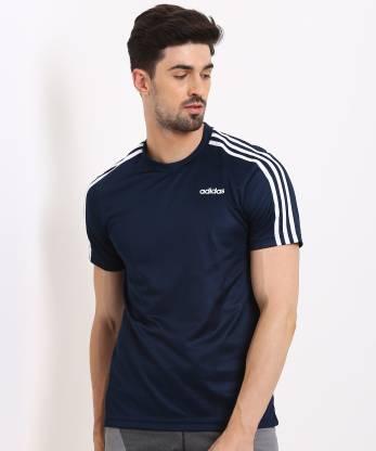 ADIDAS Sporty Men Round Neck Blue T-Shirt
