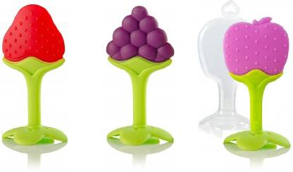 FLICK IN Baby's BPA-Free Silicone Fruit Teethers Set for Babies   Set of Three Teether