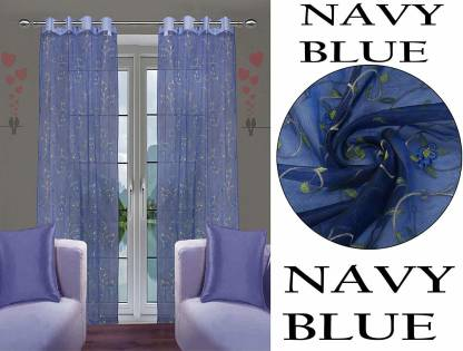 JVIN FAB 152.4 cm (5 ft) Polyester Window Curtain (Pack Of 2)(Embroidered, Navy Blue)