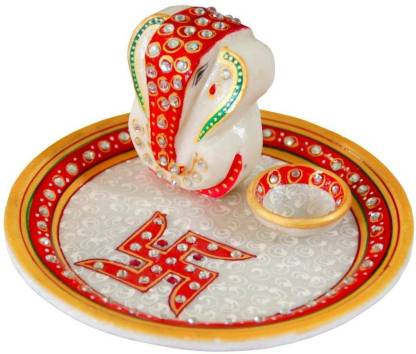 vaishnavi art collection Marble Puja Plate Marble Pooja Thali Decorative Showpiece - 5 cm