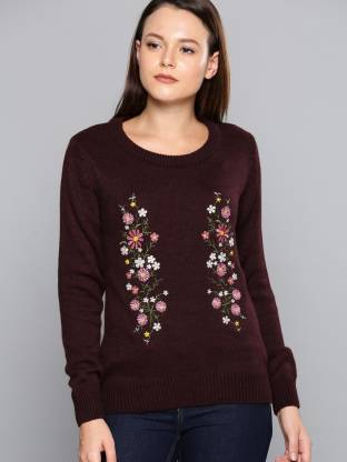 Chemistry Self Design Round Neck Casual Women Maroon Sweater