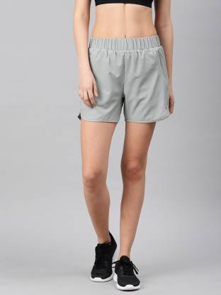 Color Block Women Grey Running Shorts