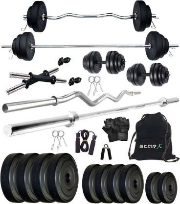 Star X 20 kg PVC Weight Plates 20 Kg Combo of Rods and Gym Accessories Home Gym Combo