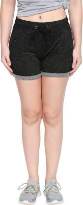 Ajile by Pantaloons Color Block Women Black Sports Shorts