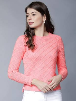 Tokyo Talkies Solid Round Neck Casual Women Pink Sweater
