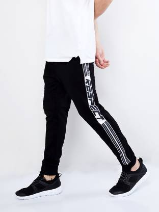 Maniac Striped Men White, Black Track Pants
