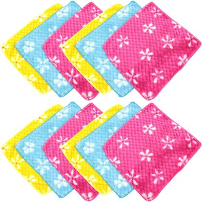 "Neska Moda Womens Floral Soft Cotton 25X25 CM [""Blue"",""Pink"",""Yellow""] Handkerchief  (Pack of 12)"