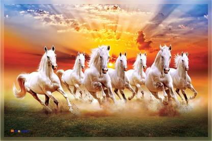 Mpro Tech Seven Running Horses Hd Print Matt Laminated Self Adhesive Synthetic Sticker Digital Reprint 24 Inch X 36 Inch Painting Price In India Buy Mpro Tech Seven Running Horses Hd Print Matt