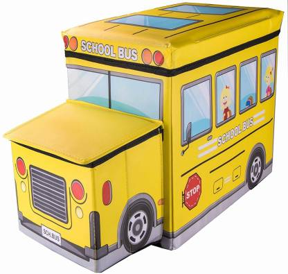 GTC Portable & Foldable Laundry Box Folding/Sitting 57X32X25cm (School Bus) Stool