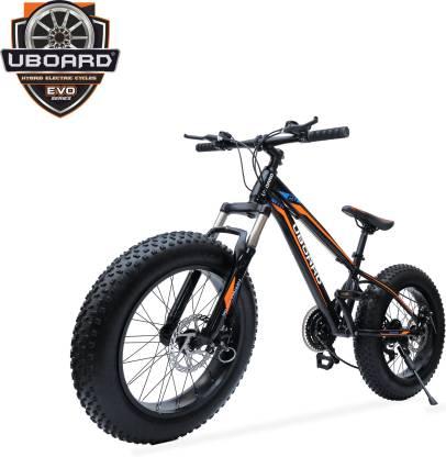 Uboard 20inch Fat TIRE Bike | 21 Speed | Authentic Shimano Gear Set 24 T Mountain Cycle 21 Gear, Black  Uboard Cycles