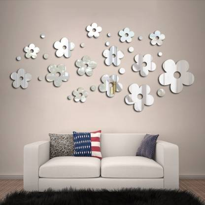 3d Mirror Acrylic Flower Wall Stickers, Mirror Decoration Stickers