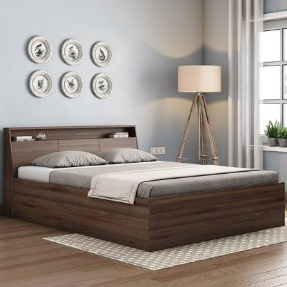 Urban Ladder Arnold Engineered Wood Queen Box Bed Finish Color   Walnut  Urban Ladder Beds