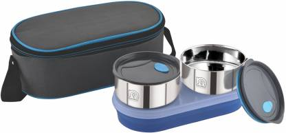 NanoNine Air Tight Stainless Steel Lunch Box with Chapati Box and Tiffin Bag, 250mlx2 , 550mlx1 3 Containers Lunch Box