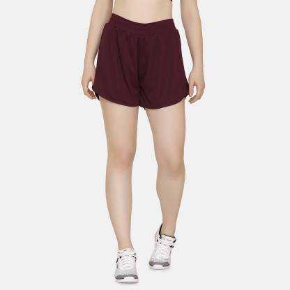 Zelocity by Zivame Solid Women Maroon Sports Shorts