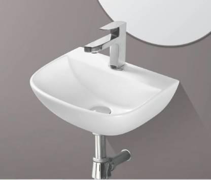 Ceramic Wall Mounted Wash Basin (White 16 x 12 x 5.5 Inch) /Glossy Finish Wall Hung Basin