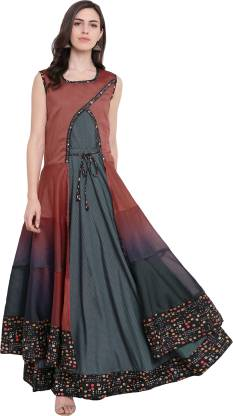 Printed Silk Blend Stitched Flared/A-line Gown  (Maroon, Grey)