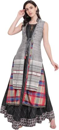 Printed Silk Blend Stitched Flared/A-line Gown  (Black, Grey)