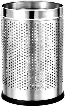 Mofna Stainless Steel Perforated Open Dustbin (7 x 10- Inch, Silver, 5 Litre) Stainless Steel, Plastic Dustbin