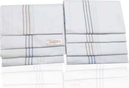 "Your's Favourite Full Size (48*48cm) Supremo Men's Cotton Colour Handkercheif -08 [""White""] Handkerchief"