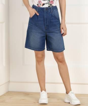 Pepe Jeans Solid Women Denim Blue Denim Shorts