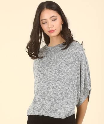 Park Avenue Casual Cape Sleeve Self Design Women Blue, Grey Top