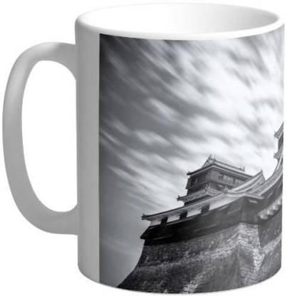 Arkist kumamoto castle black and white wallpaper Ceramic Coffee Mug