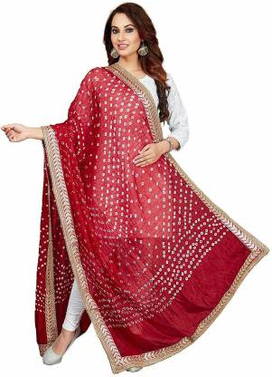 PK BANDHANI Art Silk Self Design Women Dupatta