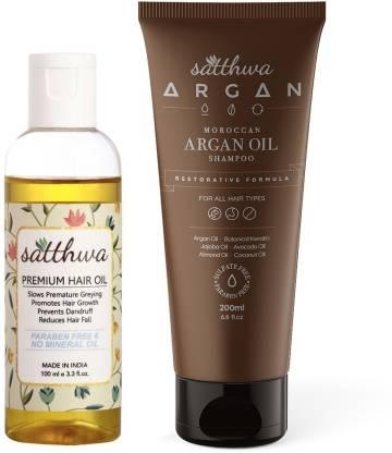 Satthwa Premium Hair Oil Plus Argan Oil Shampoo Combo