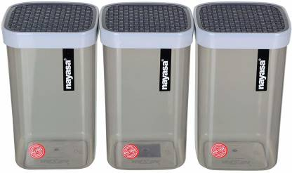 NAYASA Superplast Fusion Plastic Container Set of 3, Grey  - 1500 ml Plastic Grocery Container