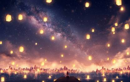 Athah Anime Original Latern Girl City Sky Stars 13*19 inches Wall Poster Matte Finish Paper Print