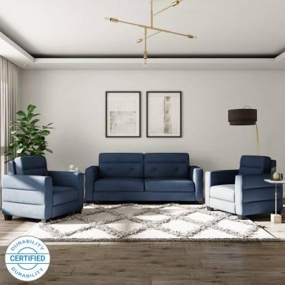 Flipkart Perfect Homes Salzburg Fabric 3 + 1 + 1 Blue Sofa Set