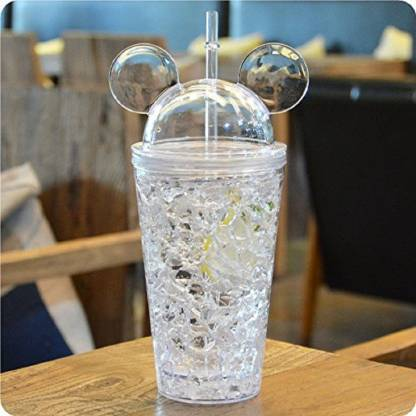 Modone cold beverages with Straw Crushed Ice Creative Water Glass 450 450 ml Sipper