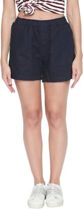 Honey By Pantaloons Solid Women Dark Blue Regular Shorts
